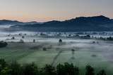 Agricultural Field. Foggy morning over rural countryside landsacpe. - 222431103