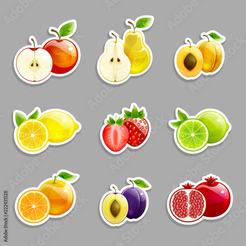 Set of Labels from  Bright Fruits and Their Halves - 222431528