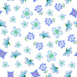 Fashionable floral seamless pattern with small violet creative flowers and intertwining green stems with a leafy white background for fabric design, a texture with a botanical motif - 222432965