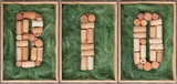 Word Bio made of wine corks on green background in wooden box - 222432910
