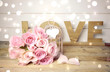 Leinwanddruck Bild - Rosenstrauß rosa - Grußkarte Love