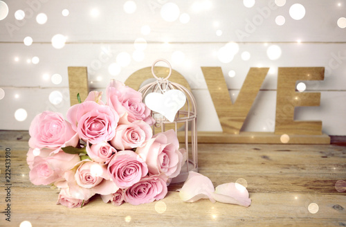 Leinwanddruck Bild Rosenstrauß rosa - Grußkarte Love