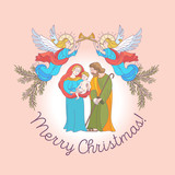 Merry Christmas. Vector greeting card. Virgin Mary, baby Jesus and Saint Joseph the betrothed. - 222437390