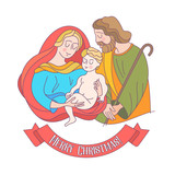 Merry Christmas. Vector greeting card. Virgin Mary, baby Jesus and Saint Joseph the betrothed. - 222437524
