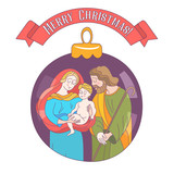 Merry Christmas. Vector greeting card. Virgin Mary, baby Jesus and Saint Joseph the betrothed. - 222437576