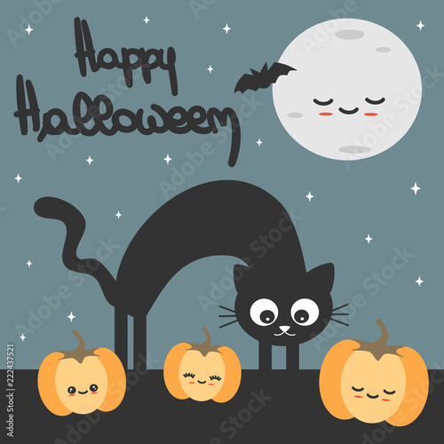cute hand drawn lettering happy halloween cartoon vector card with black cat, pumpkins and moon