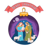 Merry Christmas. Vector greeting card. Virgin Mary, baby Jesus and Saint Joseph the betrothed. - 222437763