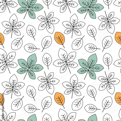 cute black and white and colorful leaves seamless vector pattern background illustration