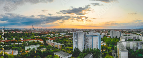 Panorama aerial view of a city at sunset - 222438131