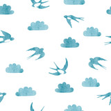 Flying swallows and clouds silhouettes. Seamless watercolor pattern. - 222439753