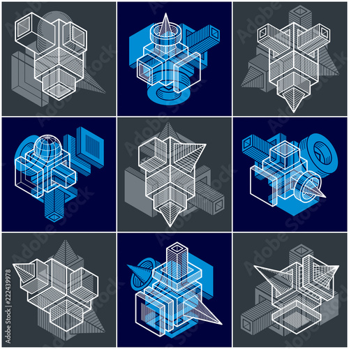 3D designs, set of abstract vector shapes. - 222439978