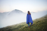 Teenager Girl in Foogy Mountain - 222441108