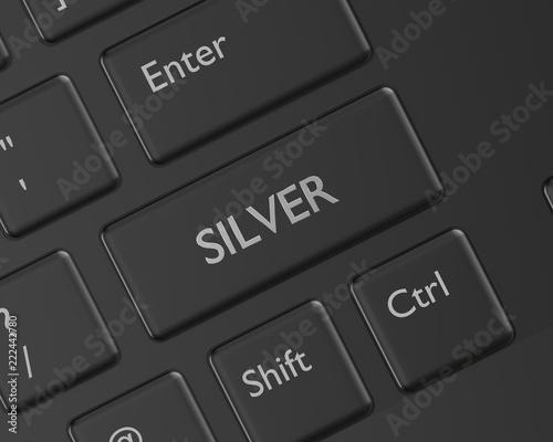 3d odpłacają się komputerowa klawiatura z SREBRNYM guzikiem