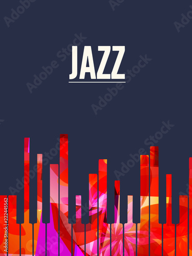 Jazz music background with colorful piano keys vector illustration. Artistic music festival poster, live concert, creative banner design with piano keyboard and word jazz © abstract