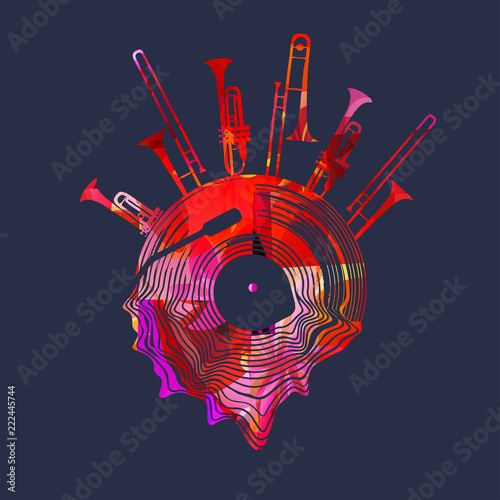 Fototapeta Music background with colorful vinyl record and music instruments vector illustration. Artistic music festival poster, live concert, creative design with lp record, trumpet and trombone