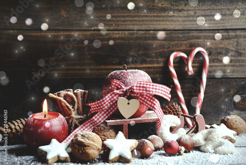 Leinwandbild Motiv Weihnachtskarte - Weihnachtsgebäck