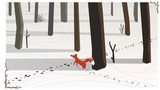 Simple vector illustration fox in winter attacked the trail of a hare.