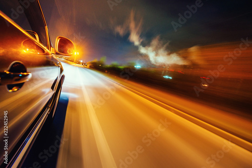Car on the road with motion blur background. - 222452945