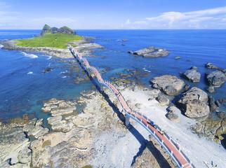 aerial view of Sansiantai east coast . Taiwan. © Tom Wang