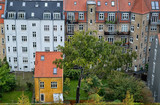 Aerial view of old residential area in the city of Aarhus in Jutland, Denmark. - 222454512