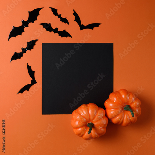 Halloween holiday minimal top view of bats and pumpkin on orange background. Halloween minimal concept. - 222455549