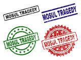 MOSUL TRAGEDY seal prints with damaged surface. Black, green,red,blue vector rubber prints of MOSUL TRAGEDY title with scratched surface. Rubber seals with circle, rectangle, rosette shapes. - 222456135