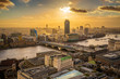 London, England - Panoramic aerial skyline view of London at sunset with Blackfriars bridge over River Thames, skyscrapers and other famous landmarks