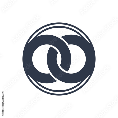 United Two Abstract Rings To Create A Symbol Of Infinity Logo