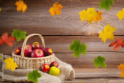 autumnal background before wooden board - 222457598