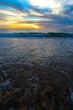 vagues au coucher de soleil des landes