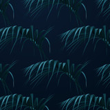 Palm leaves background. Vector botany illustration. Summer floral pattern. Jungle or rainforest cover design.