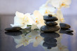 canvas print picture - White orchids flowers and spa stones . Spa background.