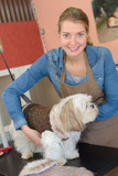 Pet groomer with dog