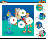 match pieces puzzle game with robots - 222472929
