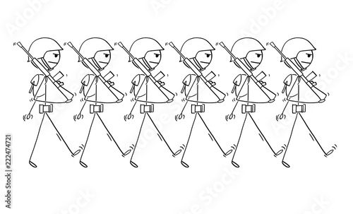Cartoon Stick Drawing Conceptual Illustration Of Modern Soldiers