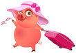 Fun pig in pink hat with suitcase is on vacation