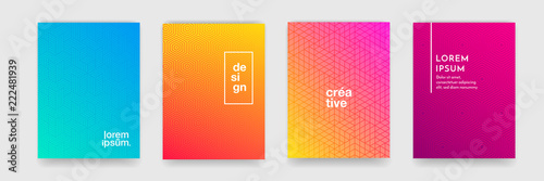 Abstract geometric pattern background with line texture for business brochure cover design. Gradient Pink, orange, purple, blue and green vector banner poster template - 222481939