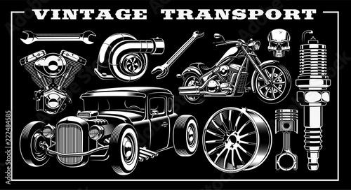 Set of vintage transportation