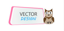 Banner  Owl Frame For Text  A Character Cartoon Frame For Text Design Of Banners For Children Sticker