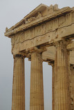 Athens, Greece: Detail of the Parthenon, 447-438 BCE, at the Acropolis of Athens, under a hazy sky caused by dust pollution. - 222487162