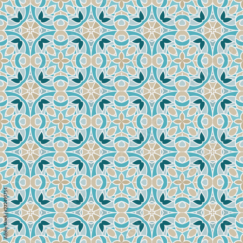 Naklejka Nontrivial bright color abstract geometric pattern, vector seamless, can be used for printing onto fabric, interior, design, textile, wallpapers, covers, background, paper, tile, towel, carpet, borde