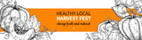 Pumpkin vector banner. Hand drawn vintage Harvest festival frame. Farm Market sketch - 222506950