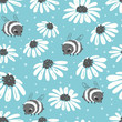 Seamless summer pattern with bee and flowers on blue background. - 222511133