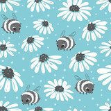 Seamless summer pattern with bee and flowers on blue background.