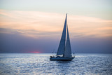 White yacht sails at sunset, Baltic sea, Latvia - 222511155