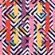 Seamless abstract pattern with geometric elements on texture background