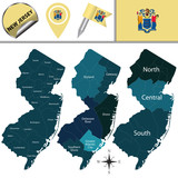 Map of New Jersey with Regions - 222514960