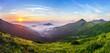 Leinwanddruck Bild - Beautiful sunrise in mountains with white fog below panorama