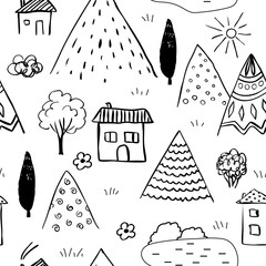 Country landscape seamless pattern. Caucasus vector landscape