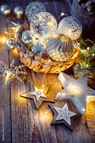 Leinwanddruck Bild Christmas decoration for tree New year greeting card at old